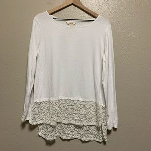 Sundance white knit long sleeve lace hem blouse